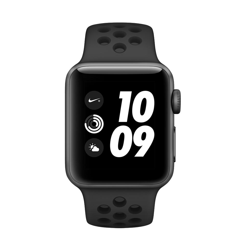 ساعت هوشمند اپل واچ سری 3 مدل Nike Plus 38mm Space Gray Aluminum Case with Anthracite/Black Nike Sport Band