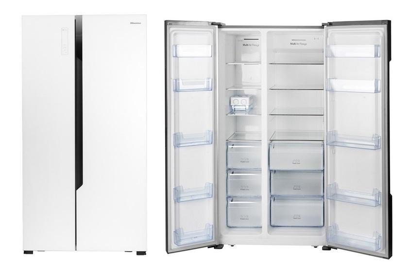 مقايسه یخچال فریزر دو قلوی هیوندای مدل 7051 HYUNDAI Refrigerator با يخچال فريزر سايد باي سايد هايسنس مدل RC83WS4SAW Hisense