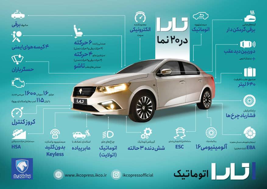 مشخصات فنی ماشین ایران خودرو تارا | اطلاعات فنی خودروی تارا