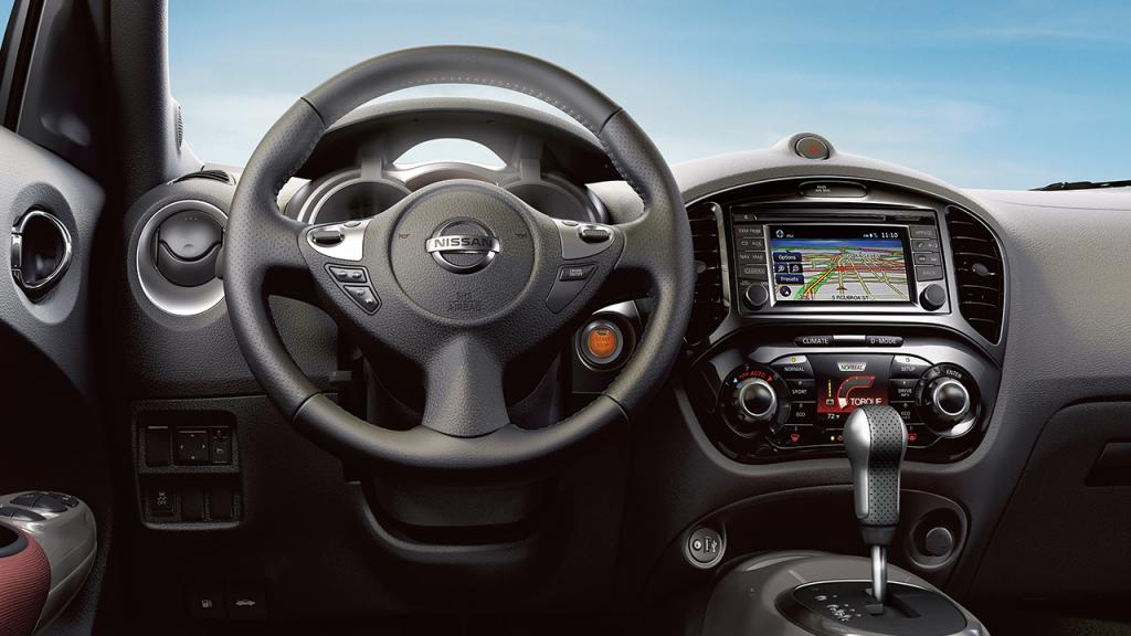 2017 Nissan JUKE® interior highlighting leather wrapped steering wheel