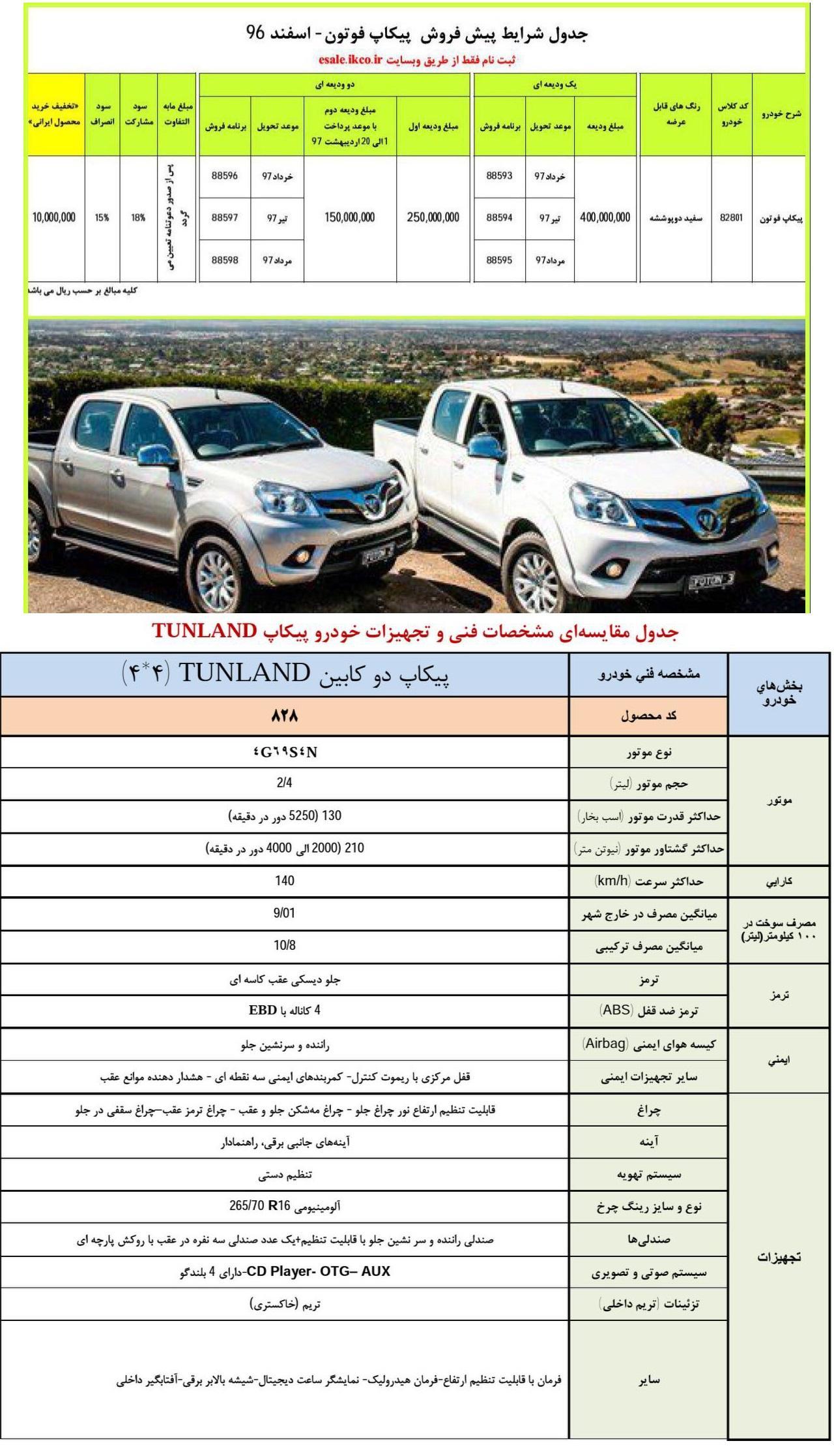 IKCO foton pickup new sale