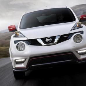 2017 Nissan JUKE® NISMO® front profile shown in Pearl White