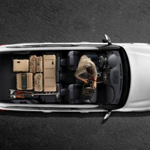 Nissan Armada Platinum® overhead cutaway shown in Charcoal Leather featuring 2nd and 3rd row folded flat
