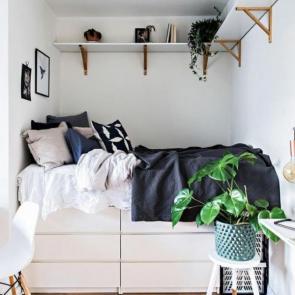 زیباترین ایدهها برای دکوراسیون اتاق خوابهای کوچک #13