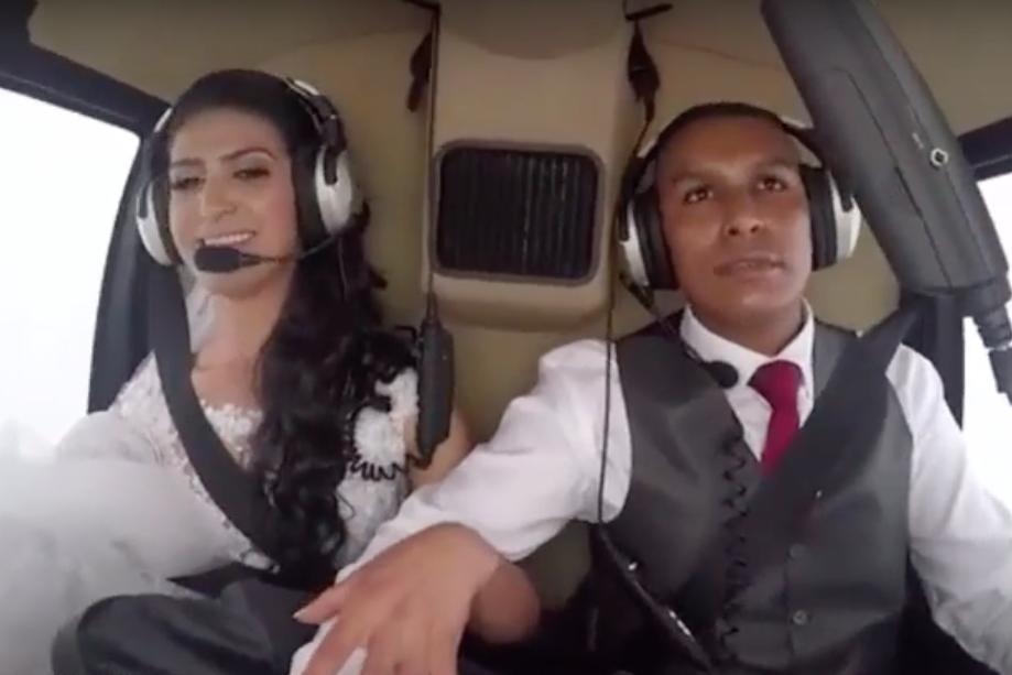 زنی که در روز عروسیاش با هلیکوپتر سقوط کرد