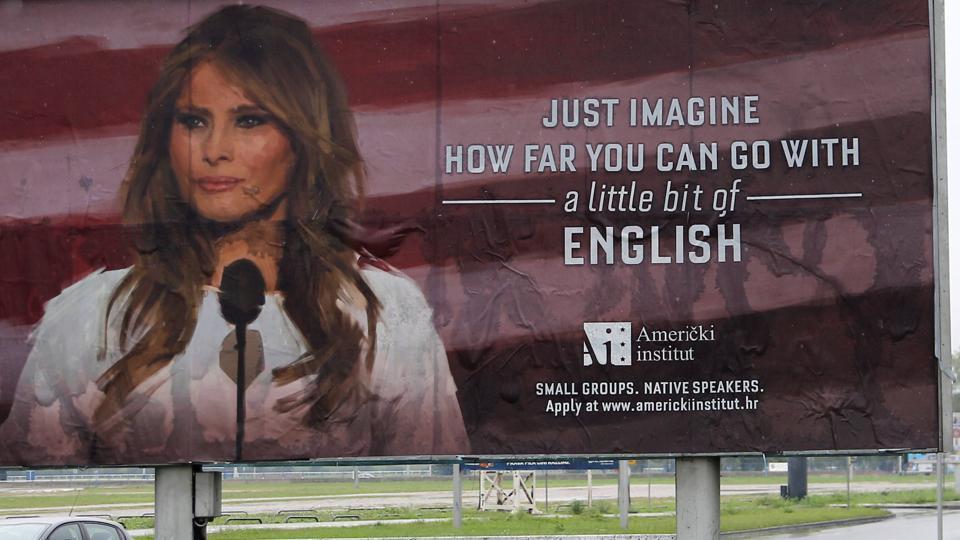 تبلیغ یک آموزشگاه زبان انگلیسی، خشم ملانیا ترامپ را برانگیخت