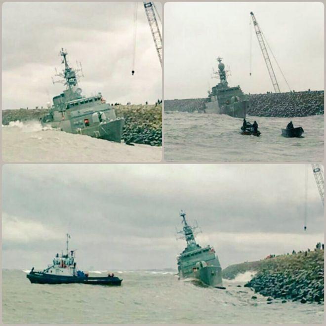 برخورد ناوچه نیروی دریایی ایران با موجشکن بندر انزلی را ببینید!
