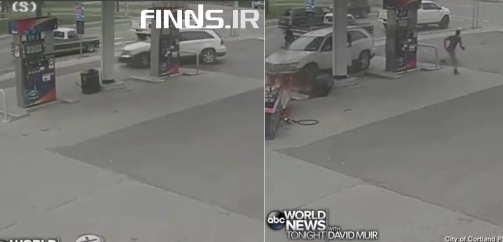 تماشا کنید : راننده ناشی پمپ بنزین را به آتش کشید!