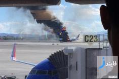 یک هواپیمای خطوط هوایی انگلیس آتش گرفت
