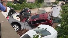 نابود شدن ده ها خودروی لوکس در سیل نیوجرسی آمریکا را تماشا کنید